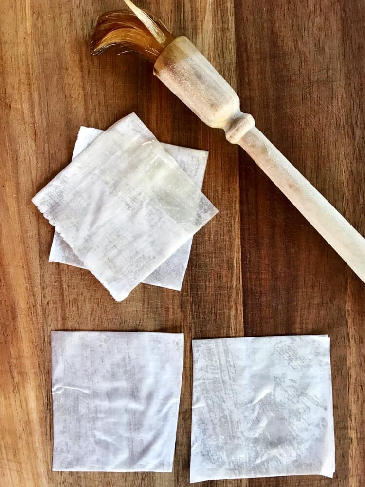 Preparing phyllo squares for phyllo cups