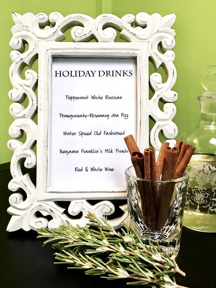 festive holiday cocktail menu
