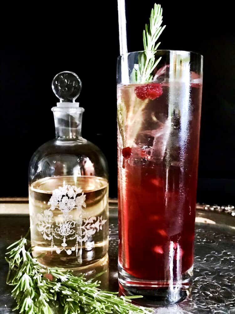 pomegranate gin fizz - festive holiday cocktails