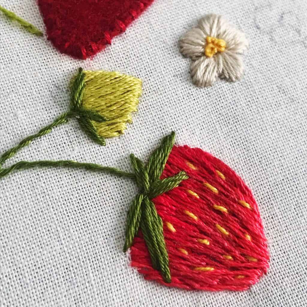 strawberry embroidery sampler