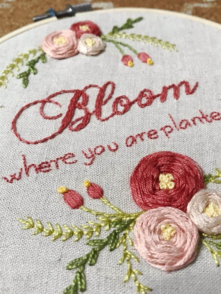 bloom where you are planted embroidery design for spring studio tour